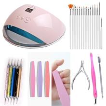 Lámpara led para secado de uñas, secador de uñas con pantalla LCD de 48w, 21 uds, lámpara LED UV para curado de esmalte de Gel, autodetección