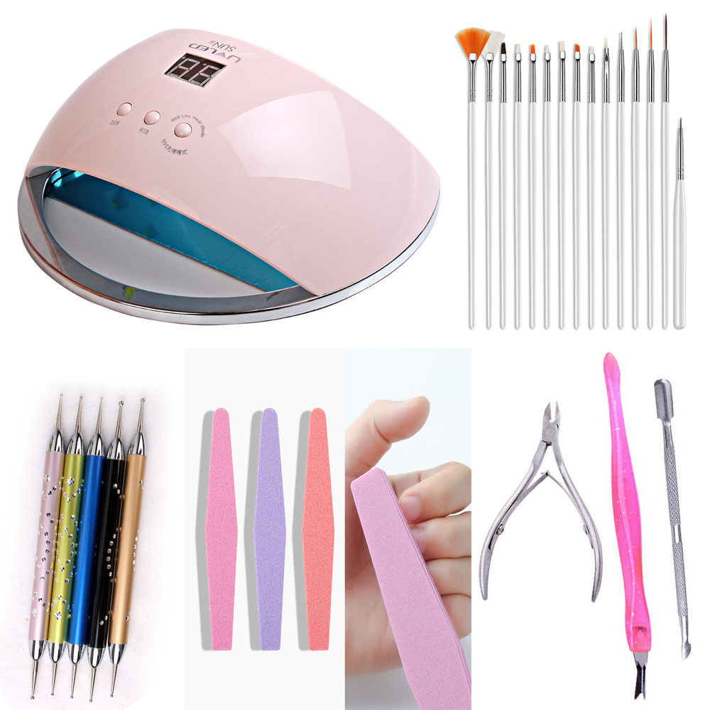 Suit 48w SUN 6  Nail Dryer LCD Display 21pcs LED Dryer Nail Lamp UV LED Lamp for Curing Gel Polish Auto Sensing Lamp For Nails-in Nail Dryers from Beauty & Health