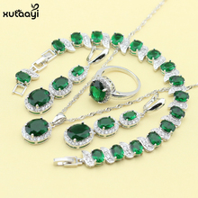 XUTAAYI Sterling Silver Overlay Jewelry Sets Green created Emerald Superb Necklace Rings Earrings/Bracelet For women Free Gift