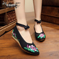 Новый вышивка женские холст обувь повседневная клинья каблуки мода обувь для женщин красивые острым носом насосы бесплатная доставка