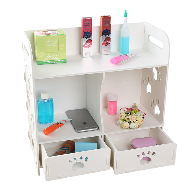 Delightful Living Room Decor Storage Rack Wooden White 3 Layer Debries Storage Box  Bathroom Cosmetic Makeup Storage