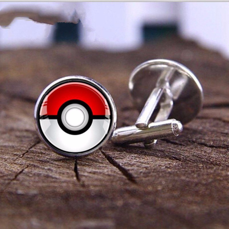 Explosion Pokemon Crystal Glass Men's Clothing Cufflinks Gifts Wholesale