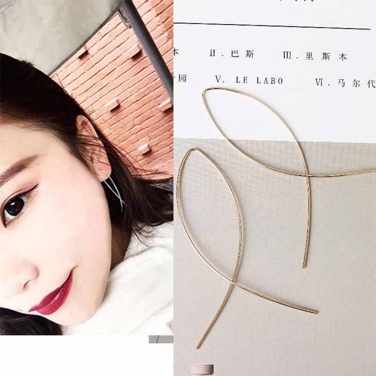 דרום קוריאני עגילי אביזרי פשוט אופנה צלב עגילים לנשים מתכת מים עיצוב אוזן קו עגילי מתנה סיטונאי