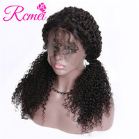 Rcmei 360 Pre Plucked Wigs 150% Density Kinky Curly 360 Lace Frontal Wigs With Baby Hair Peruvian Remy Wigs For Black Women