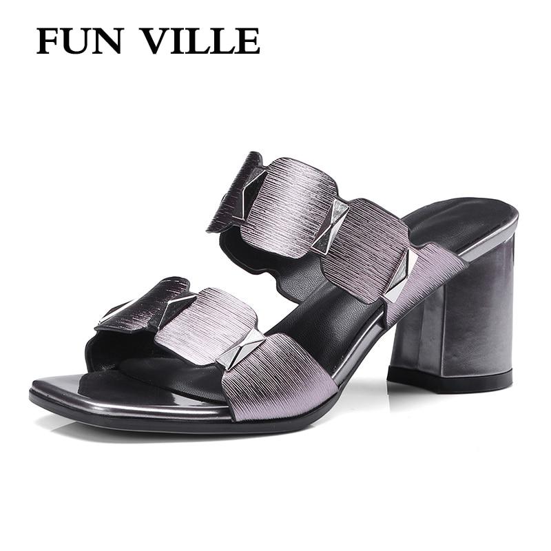 FUN VILLE 2018 Summer New Fashion Women Slippers Genuine Leather high heels Thick heel shoes woman sexy ladies shoes size 34-42 playmobil 5266 summer fun детский клуб с танц площадкой