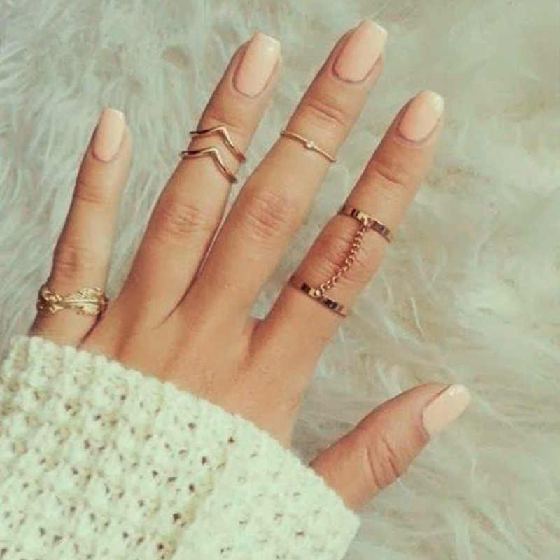 New 6pcs /set  Fashion Unique Style Gold Stacking Midi Finger Knuckle Rings Cute Leaf  Ring Set For Women Girls