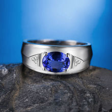 Simple Oval 6x8mm Natural Tanzanite Wedding Rings For Men Gift In 18Kt White Gold WU0312H