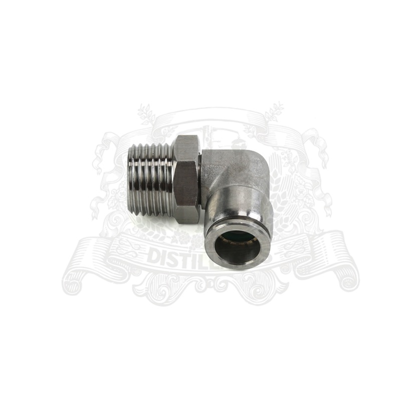 Push Connect Elbow 90 degree . Male - 1/2. Hose diameter 12mm, Stainless Steel 304.