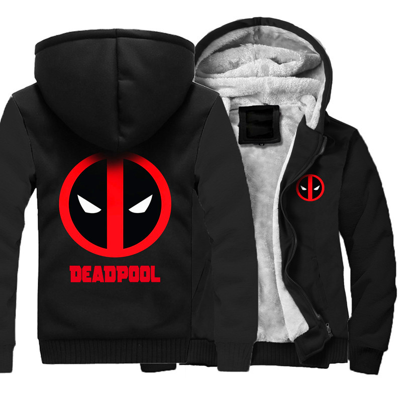 Men's Winter Thick Jacket Wade Winston Wilson Deadpool Men Coat Hooded Sweatshirt With Polyster Villus Lining