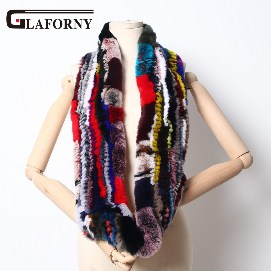 Glaforny 2018 New Colorful Women Rex Rabbit Fur Scarf Rings Winter Women Warm Fur Collars Snood Fashion