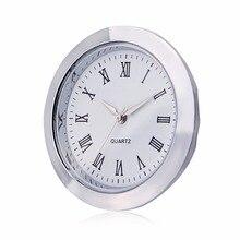 Мини часы кварцевый механизм вставка круглый 40 мм отверстие белый циферблат серебряный тон ободок римские цифры 45 мм Циферблат 1,7 дюймов