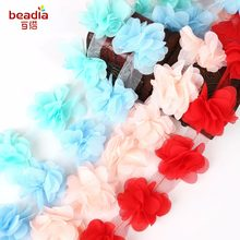 1yard=12pcs flowers 3D Chiffon Cluster Flowers Lace Dress Decoration Lace Fabric Applique Trimming Sewing Supplies(China)