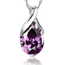 100% 925 sterling silver fashion purple crystal ladies`pendant necklaces jewelry wholesale short chain women birthday gift