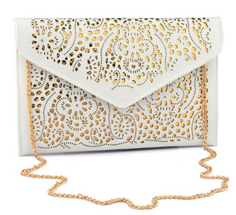 HOT ! 2017 women clutch bag female hollow cut out yellow envelope clutch purse evening clutch bags for girl wedding day clutch