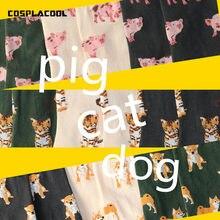 [COSPLACOOL] Bonito Piggy Animal/Gato/Pug Projeto Engraçado Meias Mulheres Criativas Harajuku Kawaii Japão Reto Sokken Calcetines Mujer