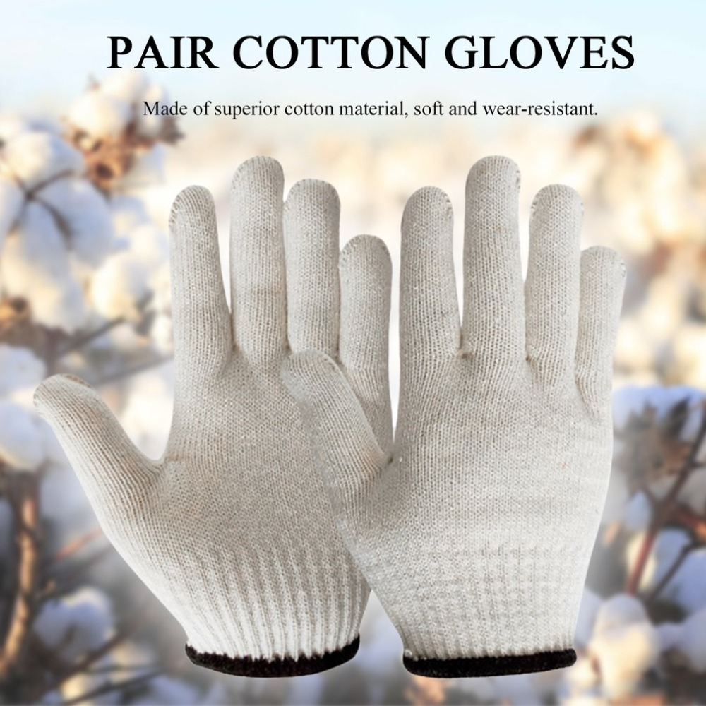 Soft Cotton Gloves Wear-resistant Antiskid Hemming Gloves Breathable Safety Hand Protective Gloves for Labor Work цена