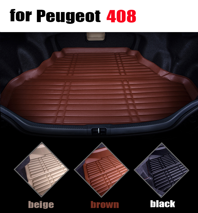 ФОТО waterproof car trunk liner for Peugeot 408 leather full surround cargo liner all weather car pad cargo mats auto accessories
