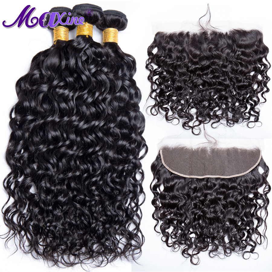 Maxine Water Wave Human Hair 3 Bundles With Frontal Closure Brazilian Hair Weave Bundles With Pre