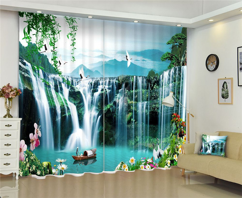 Green Waterfall Curtains Luxury Blackout 3D Window Curtains For Living Room Bedroom Customized size Drapes cortinas Rideaux