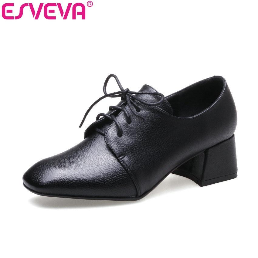 ESVEVA 2018 Women Pumps Soft PU Square Toe Fashion Pumps British Style Black Square High Heel Spring Autumn Shoes Big Size 34-43
