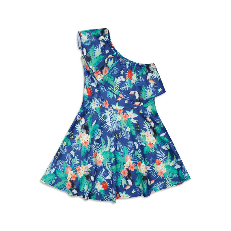 Family Look Matching Mother And Daughter Dresses Shoulder off Sleeve Beach Mommy And Me Clothes Swimsuits Outifits Mom Kids Girl (17)