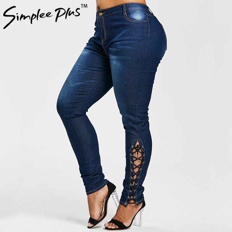 Simplee Plus Skinny bandage Leg Slim Stretch   Jeans   Blue Mid Waist Zipper Fly Plain Denim   Jeans   Women Casual Trousers Plus size