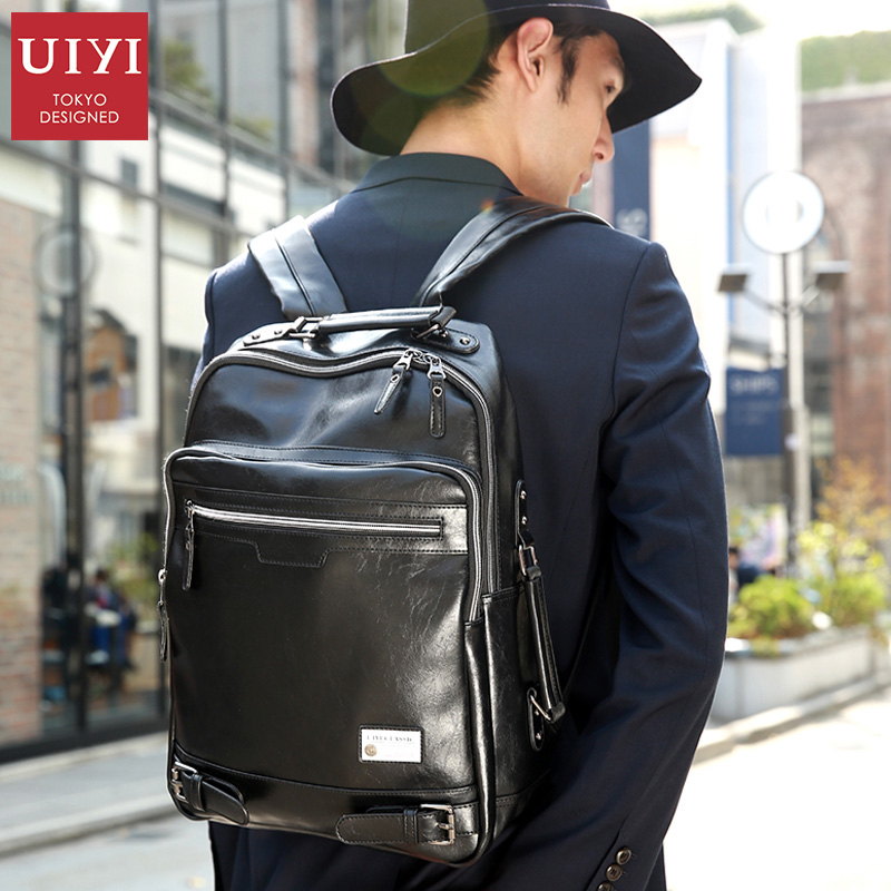 UIYI Men's New Black shoulder backpack PU Leather soft Male Backpack Leisure Men Zipper 14-inch Laptop Bags Multi-pocket newborn cap cotton beanie rhinestone bow hat soft knit striped cap baby supplies baby photo prop