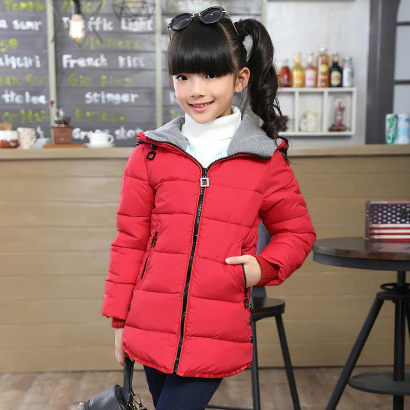 Thick Warm Children Down Coats Cotton-padded Autumn Winter Kids Jacket for Girls Hooded Casual Toddlers Teens Girls Outerwear mmc brand children s winter thick warm brief style gradient splice high quality hooded down coats for girls 90