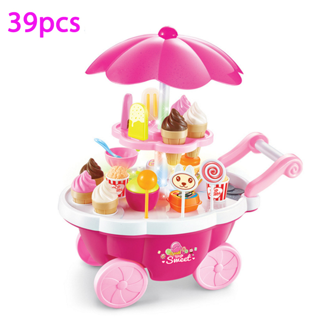 New Hot 39 Pcs Simulation Small Carts Girl Mini Candy Cart Ice Cream Shop Supermarket Children 's Toys Playing Home Baby Toys