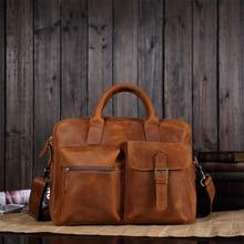 цена на Men Crazy Horse Leather Portfolio 15 inch Laptop Bag men High quality Leather Briefcase Messenger Shoulder Handbag Designer tote