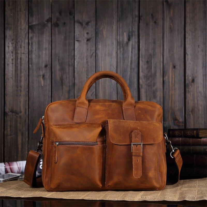 2019 Vintage hommes vache véritable mallette en cuir Crazy Horse cuir Messenger sac mâle pochette d'ordinateur hommes d'affaires voyage sac