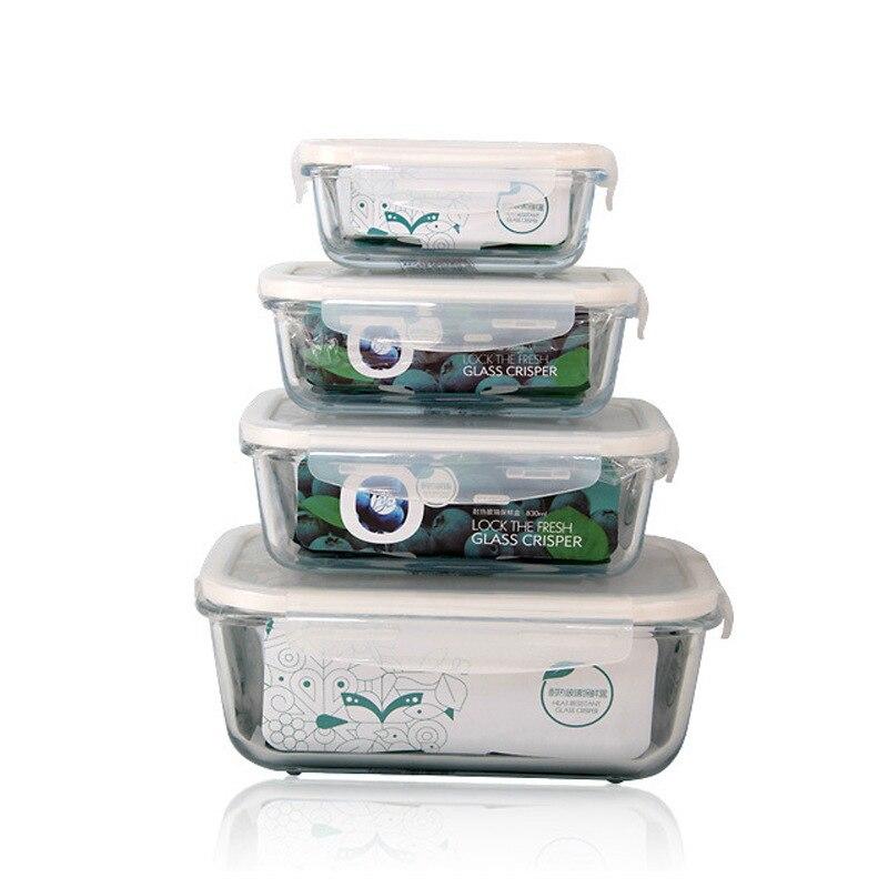 High borosilicate glass crisper microwave lunch box crisper glass rectangle Food storage ...