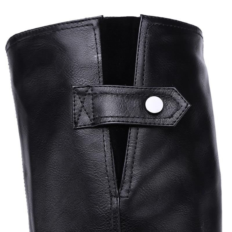 Plus koko 34-43 pu nahka kengät nainen saappaat solki zip neliön - Naisten kengät - Valokuva 5