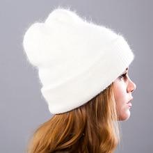 Женские зимние шапки вязанные шапочки из кроличьей шерсти меховая шапка женские меховые шапочки шапки Gorros однотонные 9 цветов sr498