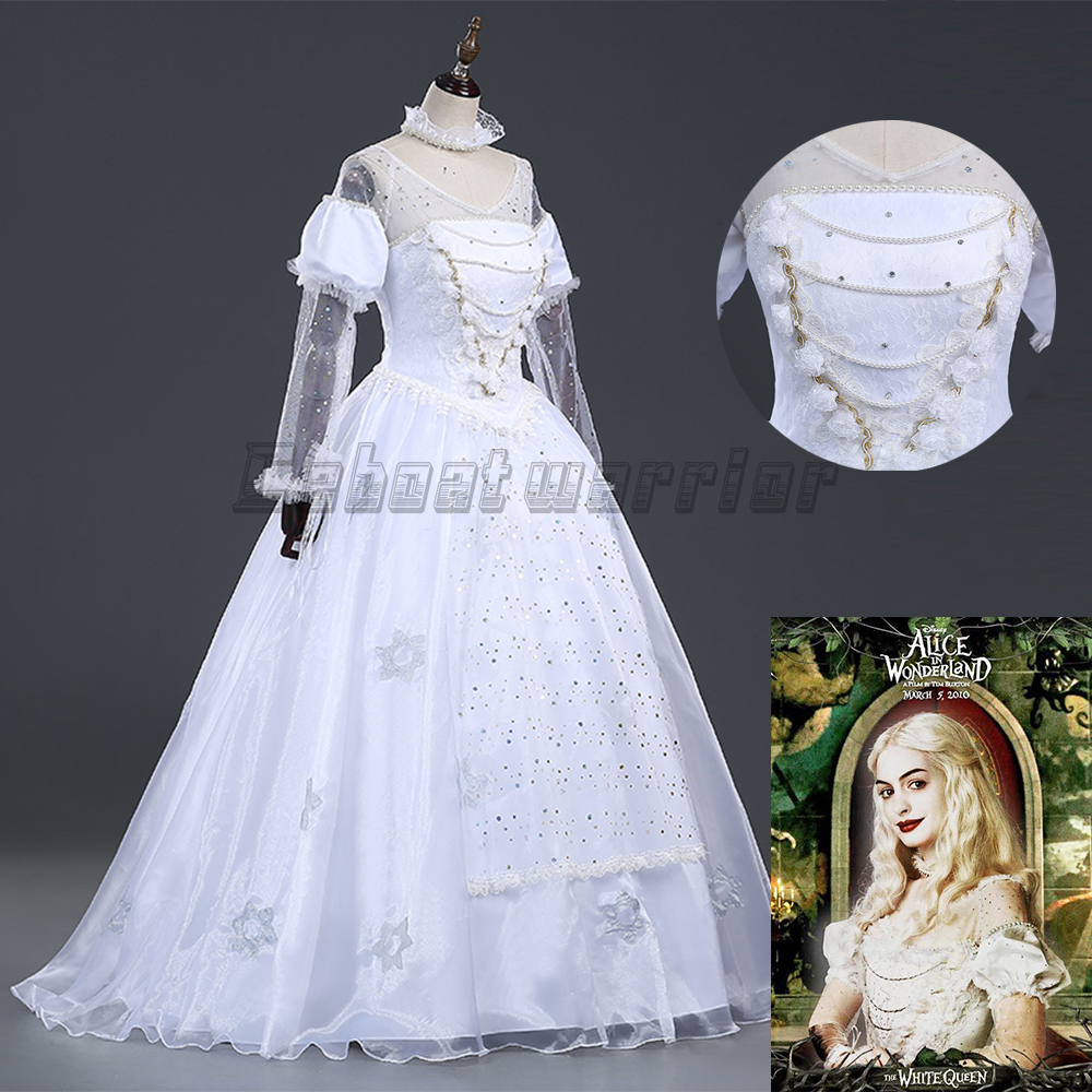 Film Alice in Wonderland The White Queen Cosplay Kostuum wit Fancy - Carnavalskostuums