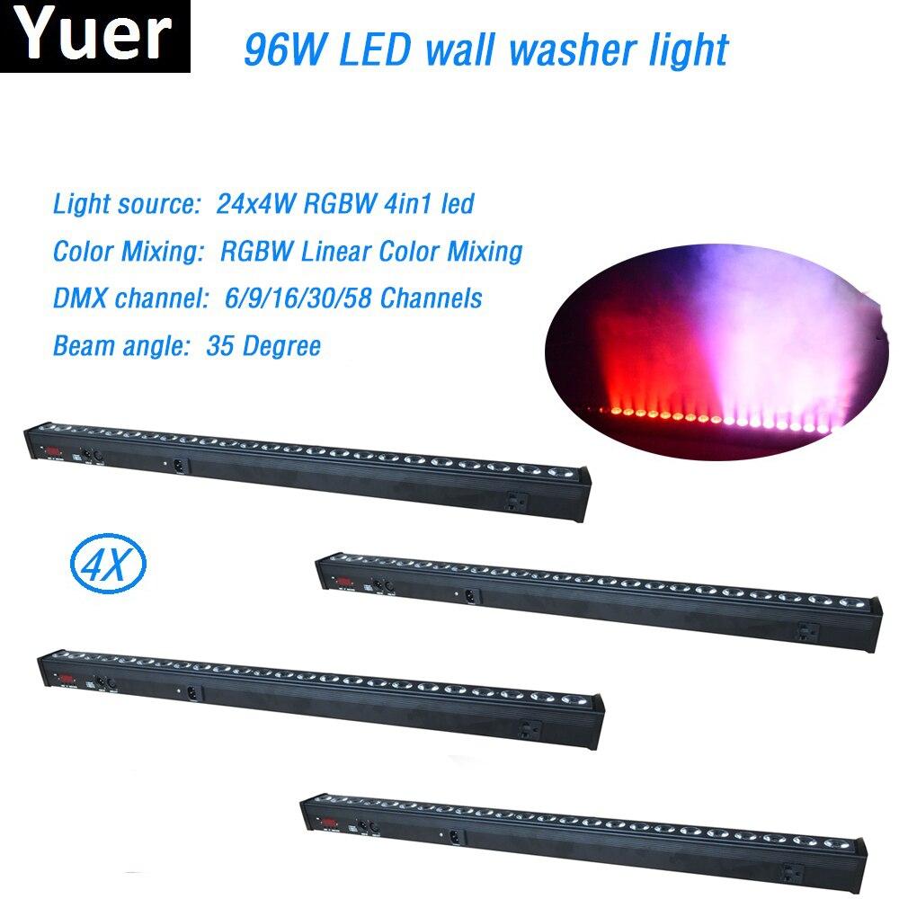 4 Pcs/Lot LED Lavage Mur 24x4 w RGBW 4in1 Stade Lumière intérieure avec running horse functiuon DMX512 rgbw couleur de mélange de disco de lumière dj