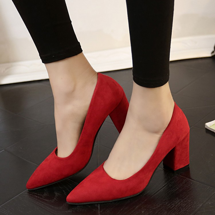 High Heels Women Pumps Sexy Nightclub Wedding Casual Shoes Pointed Toe Parties Dress Slip-on Summer Flock Shallow Square