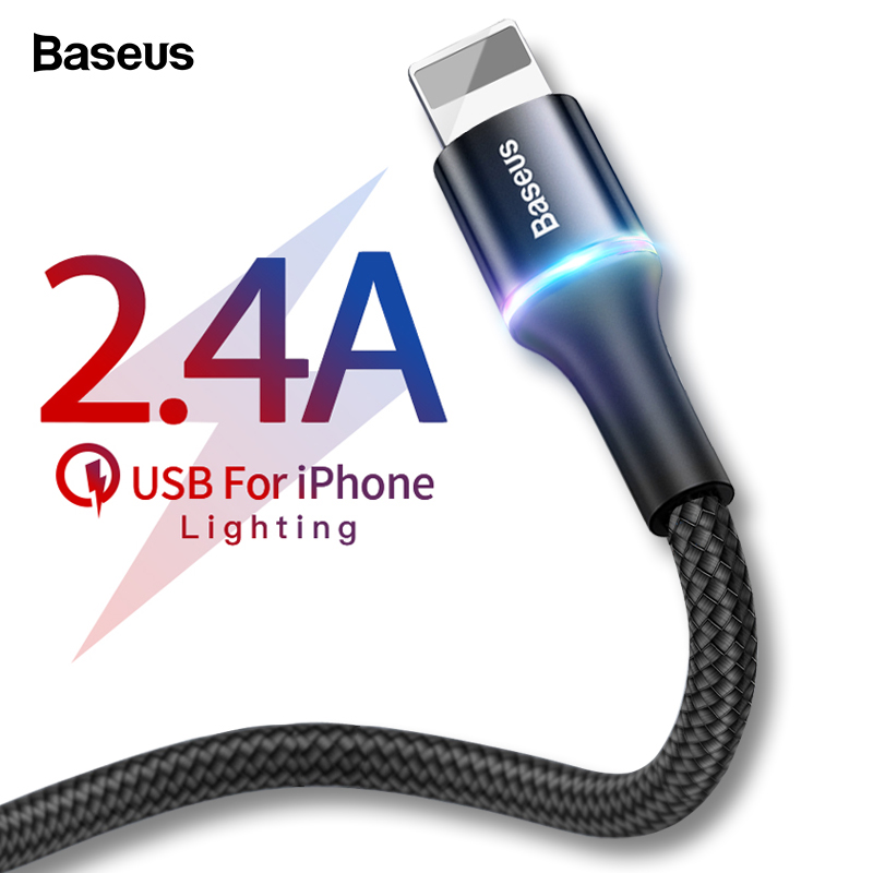 Baseus USB Cable For iPhone 2.4A Fast Data Charging Charger For iPhone Xs Max Xr X 8