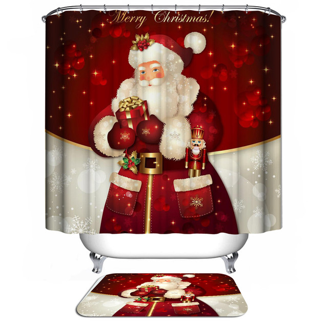 New Santa Claus Christmas Shower Curtain 3d Modern Waterproof Fabric Bath Curtains For Bathroom Sliding