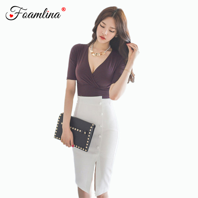 80370a10546c5 US $39.99 |Foamlina Office Ladies Two Pieces Set Sexy V Neck Short Sleeve  Crop Top + High Waist Split Pencil Skirt Suits Women Clothing Set-in  Women's ...
