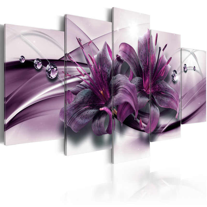 5 Pieces Canvas Wall ArtWater Drop Purple Lily Flower Abstract Exquisite Background Home Decoratives Paintings Framed PJMT- (32)