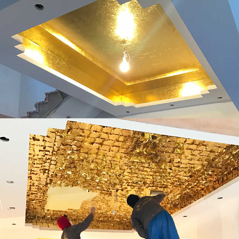 100 pcs ไต้หวันเงา K เลียนแบบทองกระดาษ, ใช้สำหรับเฟอร์นิเจอร์และ Celling, gilding สีเช่น 24 k Gold
