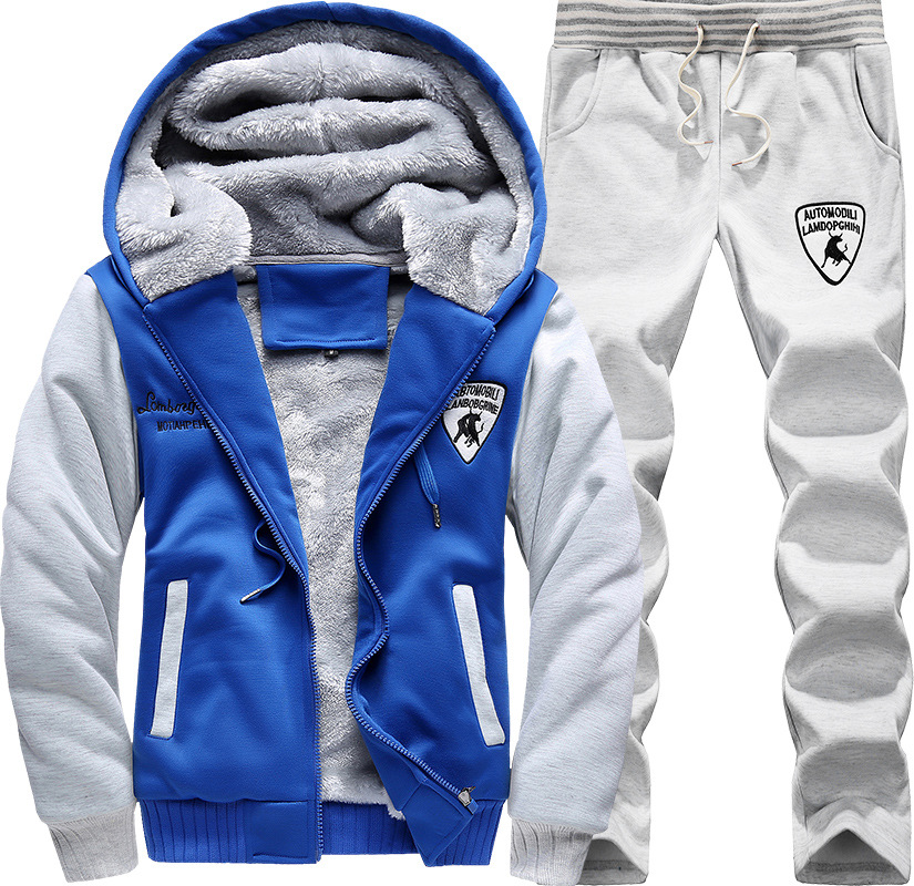 2019 Winter Mens Sport Suits Velour Tracksuit Set Zip Hoodie Sweatshirt & Track Pants 2piece Casual Warm Velvet Mens Sweat Suits