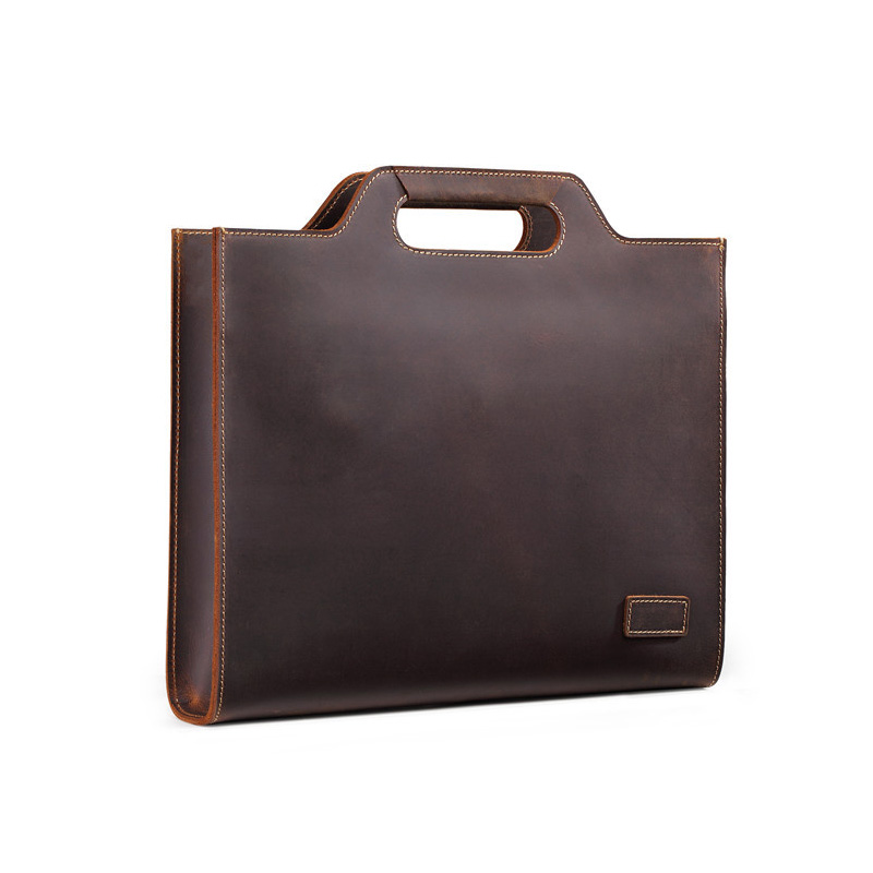 2018 Retro Crazy Horse Leather Men's Briefcase Genuine Leather Men Tote Bag Shoulder Messenger Business Men Handbags Laptop Bags retro crazy horse genuine leather bag business laptop bag briefcase men leather crossbody bag shoulder messenger men tote bag