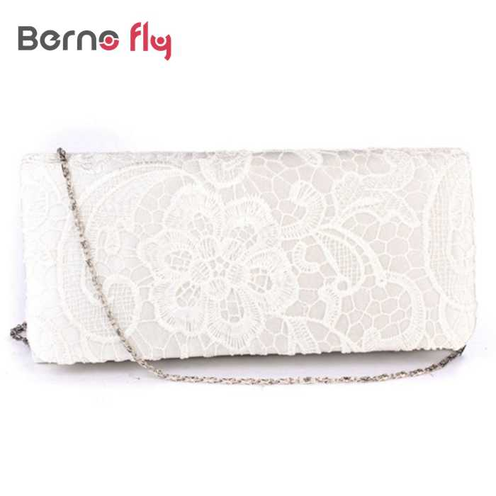 dd395e5875 New Bridal Wedding Lady Satin Evening Bags Lace Floral Day Pouch Clutches  Women Messenger Shoulder Bag