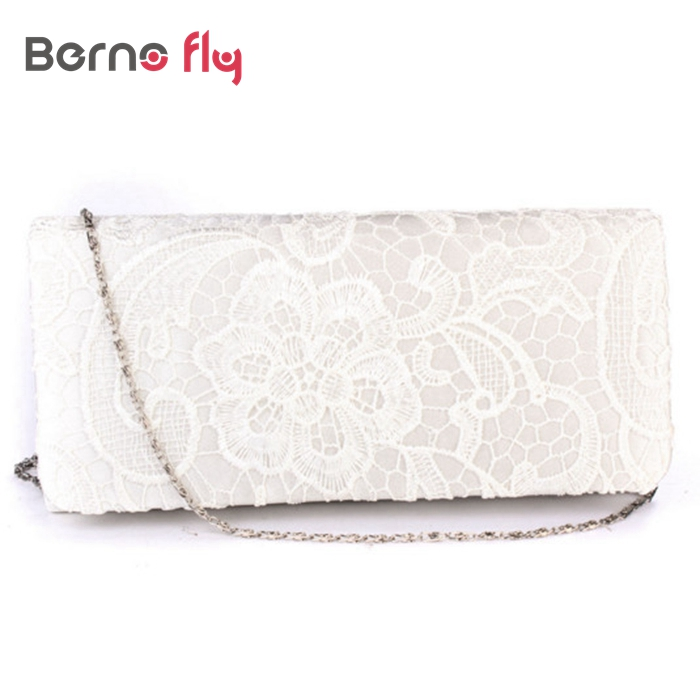 New Bridal Wedding Lady Satin Evening Bags Lace Fl Day Pouch Clutches Women Messenger Shoulder Bag Purse Party Handbags In Top Handle From