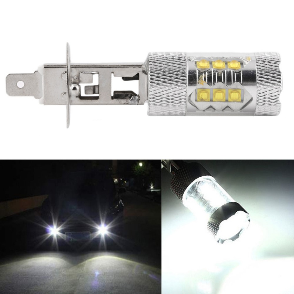 1Pcs H1 LED 80W White Car Fog Lights Daytime Running Bulb Auto Lamp Vehicles H1 Led High Power Parking Car Light Source 2x car led 9006 hb4 5630 33 smd led fog lamp daytime running light bulb turning parking fog braking bulb white external lights