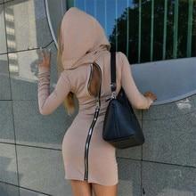 { MISS SEA } Sexy long zipper long sleeve one piece women lady street hooded dress free shipping WD2255