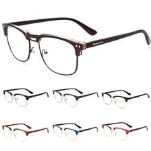 e4a592c09a 2018 Metal Half Frame Glasses Frame Retro Women Men Reading Glass UV  Protection