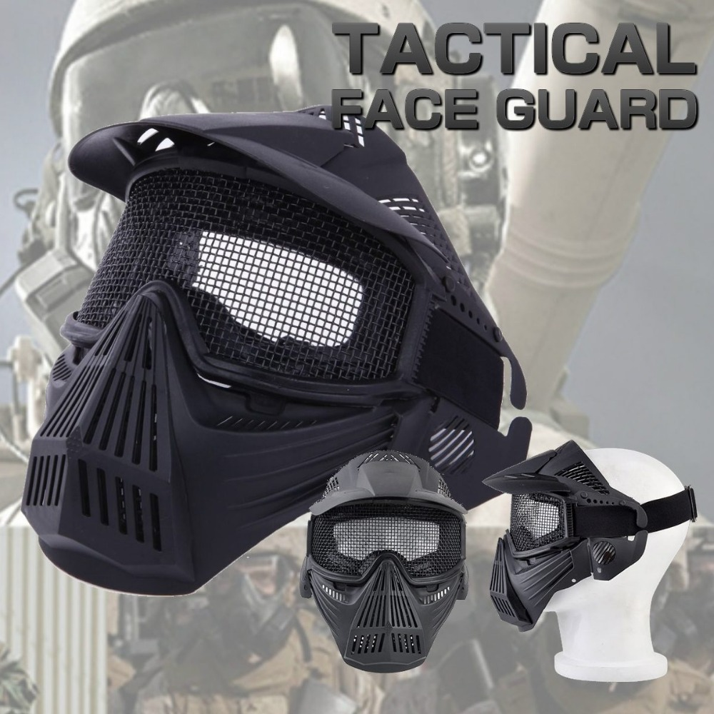 Tactical Airsoft Full Face Metal Mesh Goggle Mask Outdoor CS Wargame Halloween Party Shooting Hunting Paintball Accessories